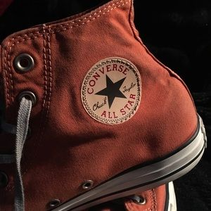 Men's orange canvas converse high tops